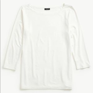 Ann Taylor Linen Boatneck Tee White 3/4 Sleeve Top